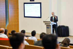 Mark Berry (Derisk) presents at the SGX seminar.s at the SGXing at the SGX